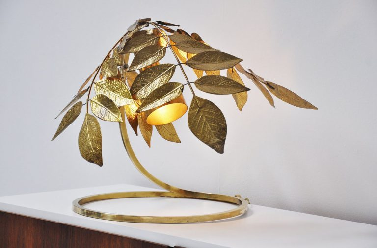 Carlo Giorgi brass leaves table lamp Italy 1970