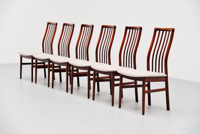 Niels Koefoed dining chairs in rosewood Denmark 1960