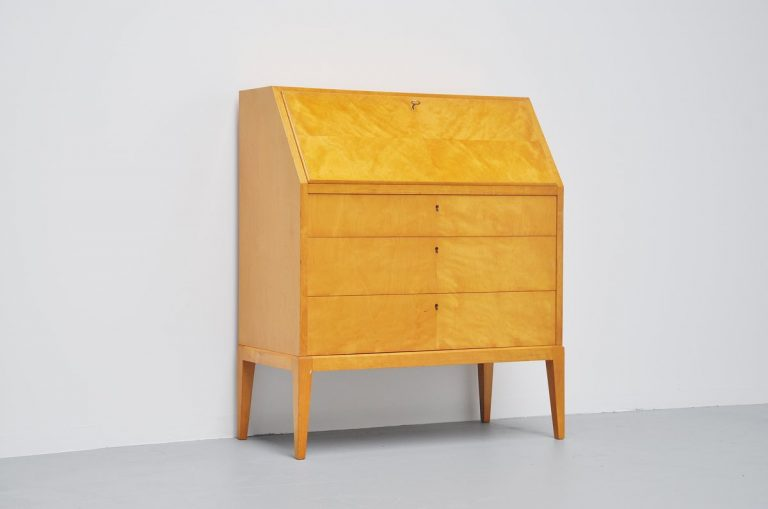 Modernist secretaire in birch burlwood veneer Finland 1954