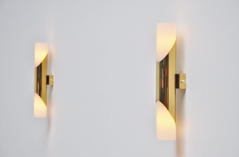 Italian brass and glass sconces Gio Ponti style 1970