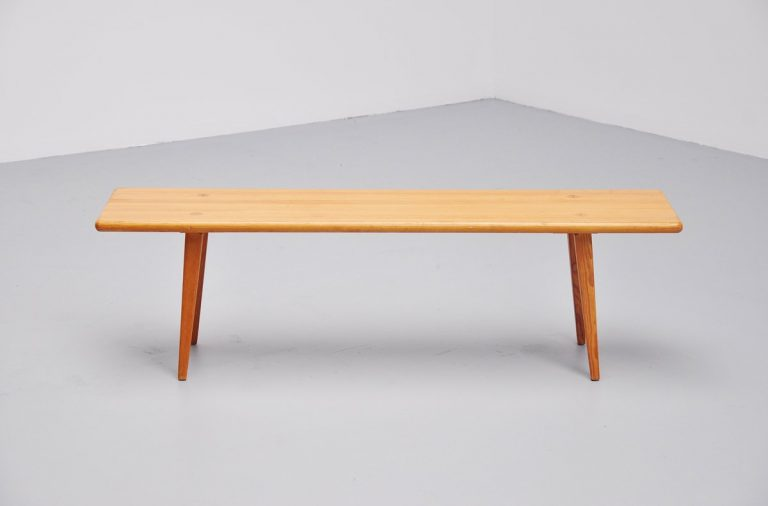 Carl Malmsten solid pine bench Sweden 1940