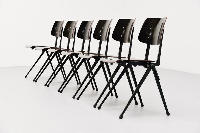 Galvanitas black stacking chairs Holland 1970