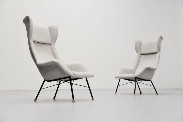Miroslav Navratil wingback chairs Czech Republic 1950