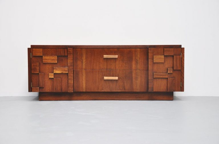 Brutalist credenza by Lane Furniture, USA 1970