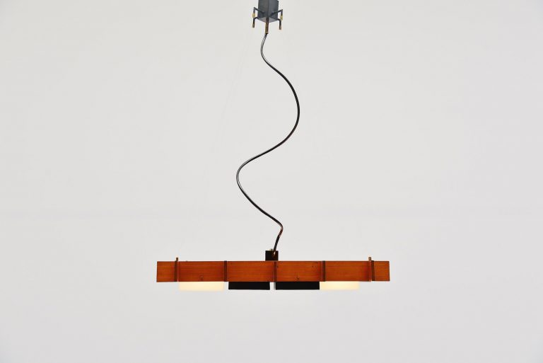 Esperia ceiling lamp in teak and plexi cube frame Italy 1950