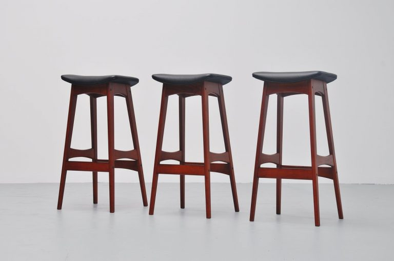 Johannes Andersen teak bar stools black leather Denmark 1961