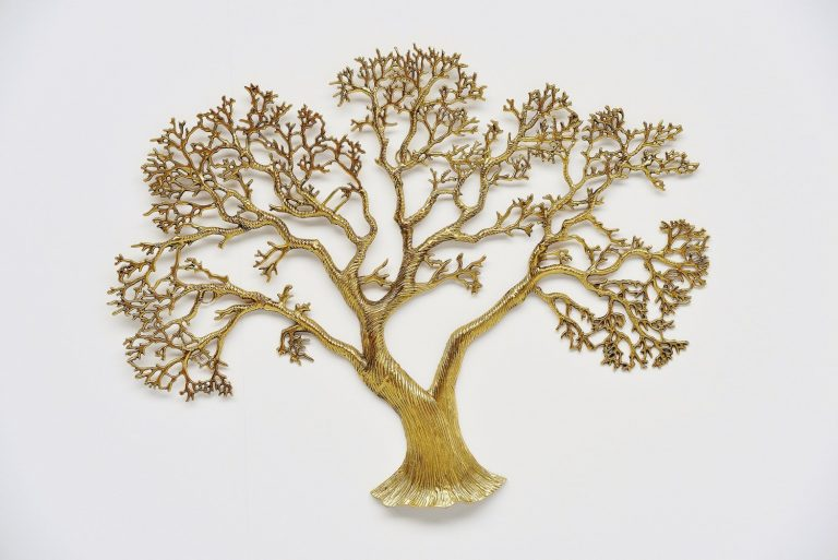 Brass wall tree sculpture Belgium 1970