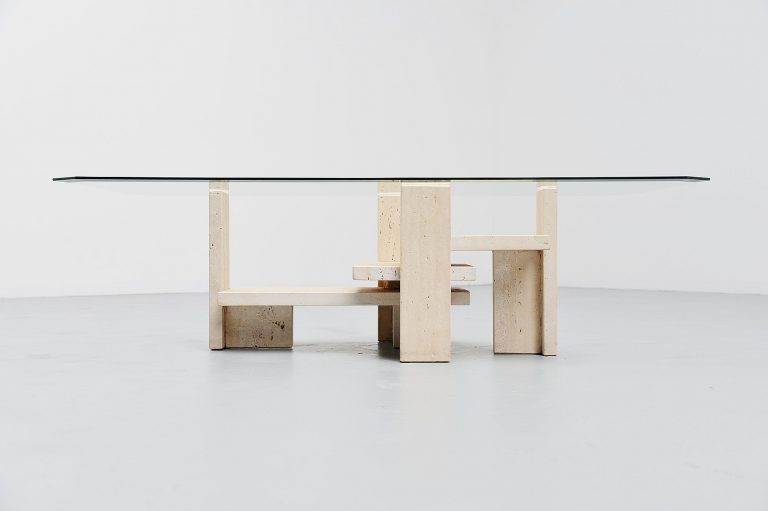 Willy Ballez sculptural tavertine coffee table Belgium 1970