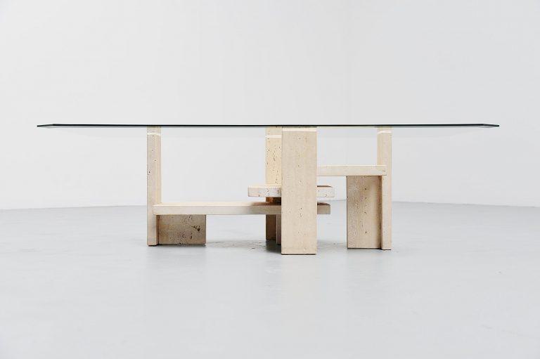 Willy Ballez sculptural tavertine coffee table Belgium 1970