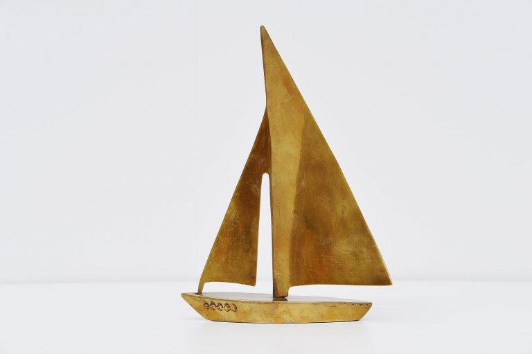 Brass sailing boat sculpture Carth Germany 1970