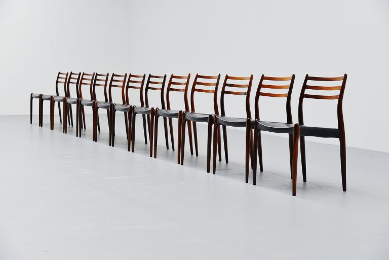 Niels Moller Model 78 dining chairs in rosewood Denmark 1962