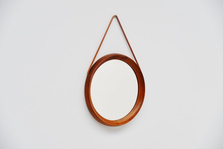 Danish wall mirror with leather strap 1960