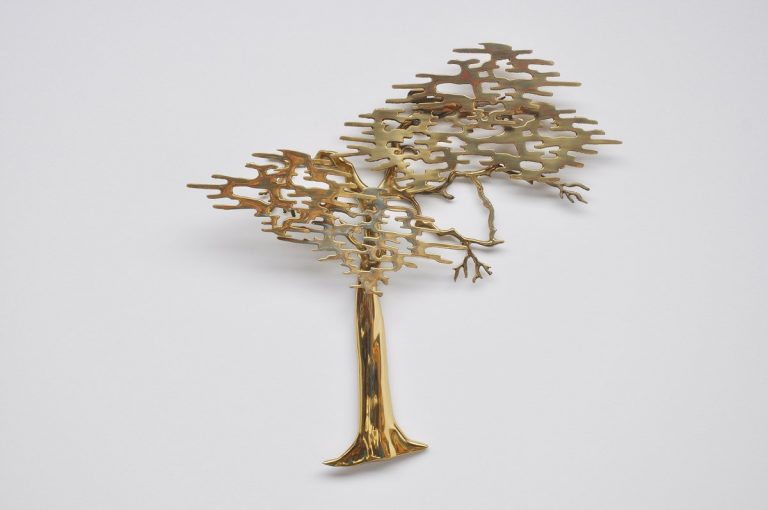 Balgian brass tree wall sculpture 1970