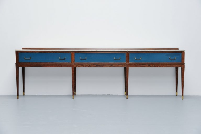 Long Italian art deco drawer console Italy 1940