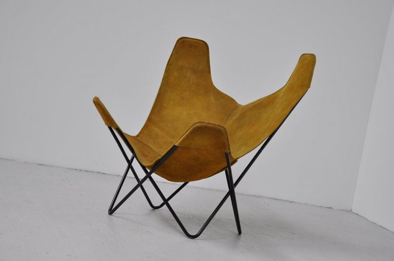 Hardoy Butterfly chair in green suede Knoll 1970