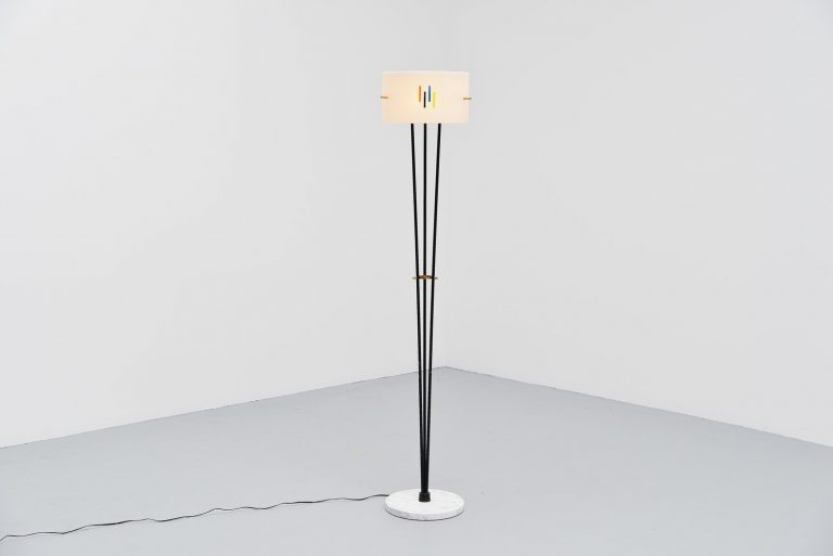 Stilnovo floor lamp with marble and plexi Italy 1960