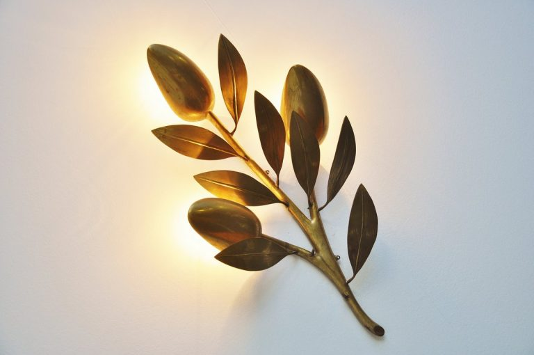 Bronze tulip wall lamp Willy Daro Belgium 1970