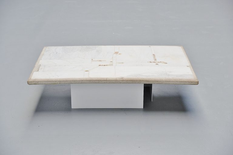 Paul Kingma white marble coffee table Holland 1978