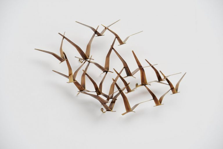Curtis Jere wall sculpture birds in brass USA 1994