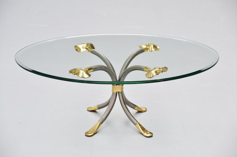 Manfred Bredohl brass and iron coffee table Germany 1970