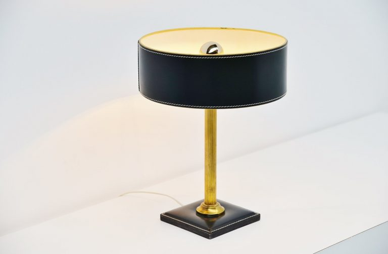 Jacques Adnet leather clad table lamp France 1960