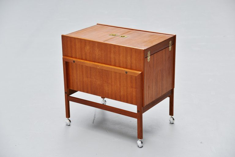 Danish teak drybar on wheels Denmark 1960