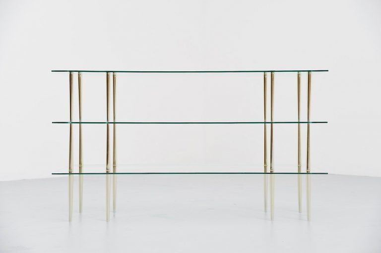 Italian glass and brass console table 1950