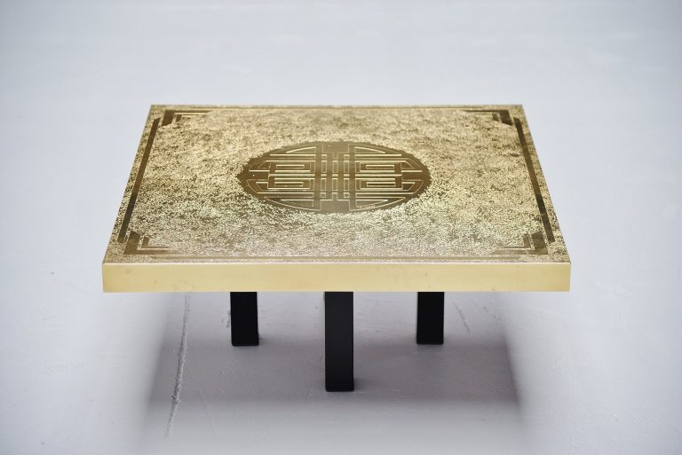 Elias Segura etched brass coffee table Belgium 1991