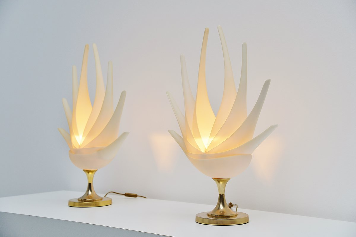 Maison Rougier Flower Shaped Table Lamps France 1970
