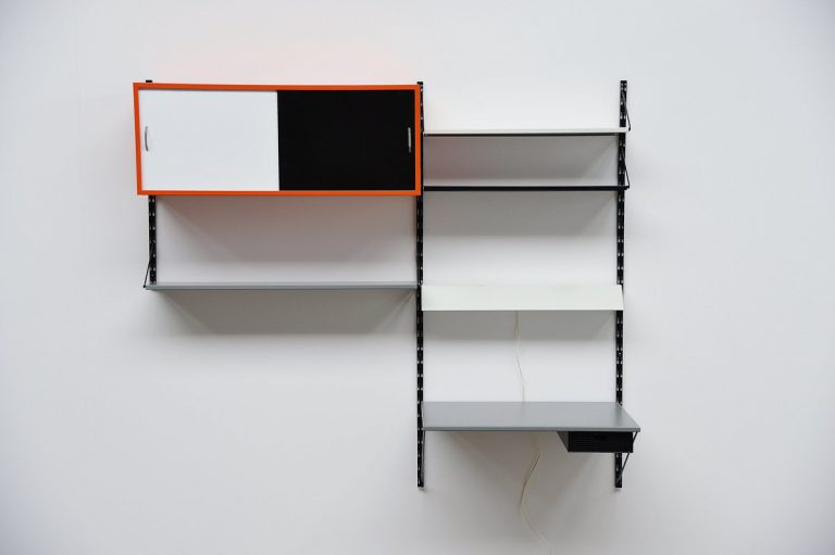Pilastro bookcase unit and desk by Tjerk Reijenga 1960