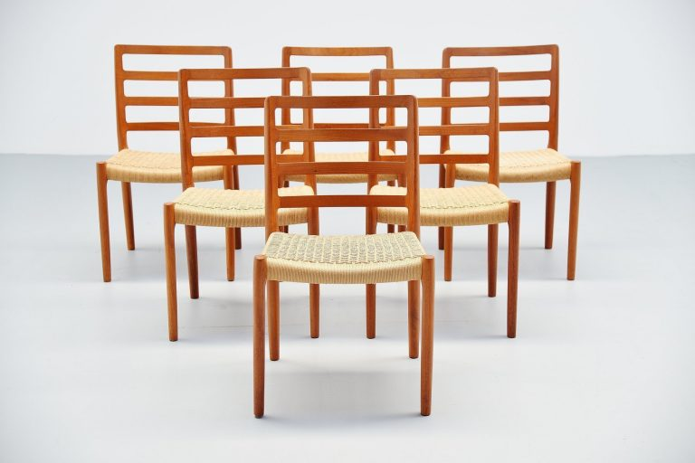 Niels Moller Model 85 teak dining chairs Denmark 1981