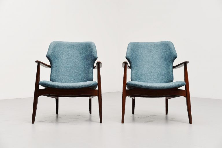 Danish wingback easy chairs in blue 1960