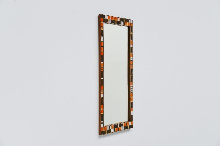 Decorative mosaic wall mounted mirror Italy 1950