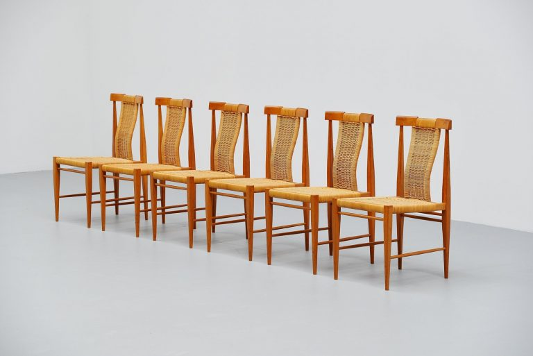 Belgian dining chair set in oak and cane 1955