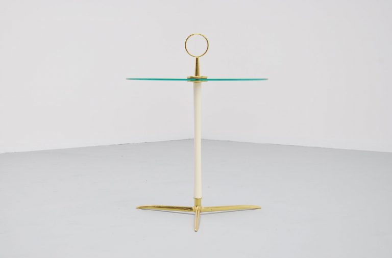 Cesare Lacca side table in brass and glass Italy 1955