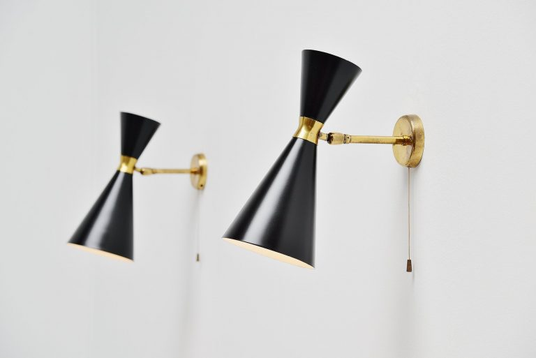 Stilnovo diabolo sconces black and brass Italy 1950