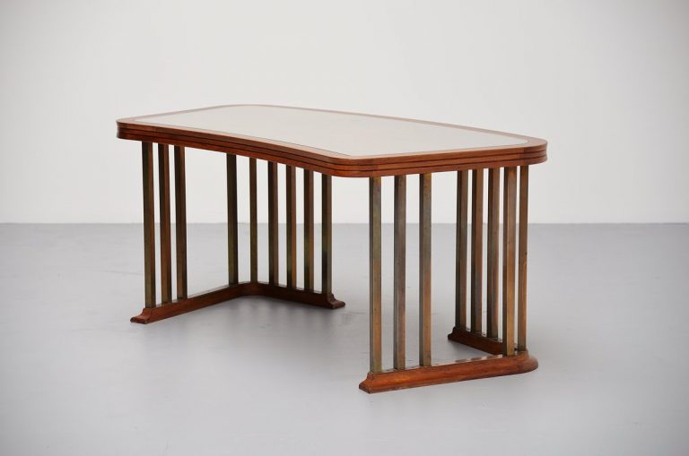Amsterdamse School desk in brass and walnut ca 1935