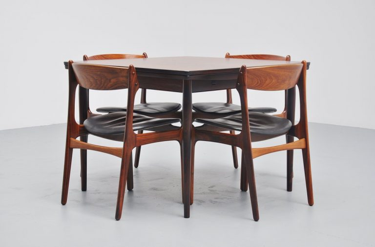 Square rosewood dining table by Arne Vodder for Sibast mobler 1960