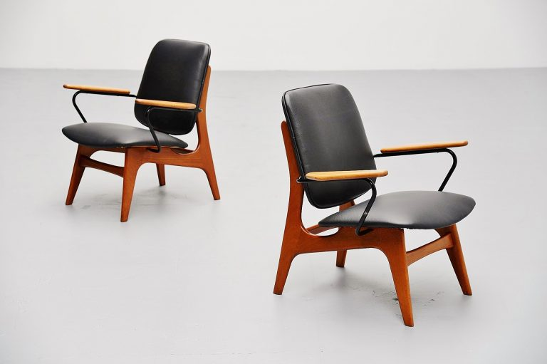 Dutch modernist lounge chair pair Holland 1960