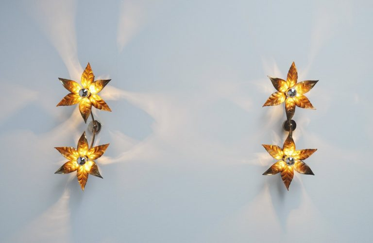 Willy Daro attributed double flower sconces Belgium 1970