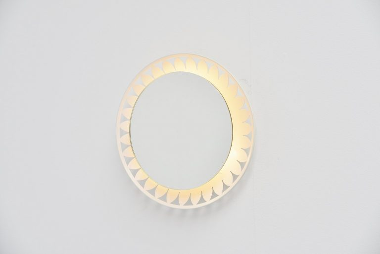 Dutch illuminated white wall mirror 1960