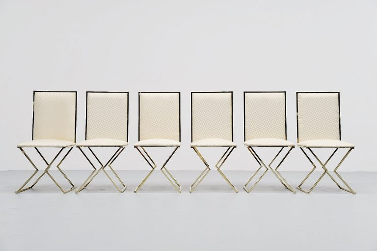 Romeo Rega dining chairs with graphic upholstery Italy 1970