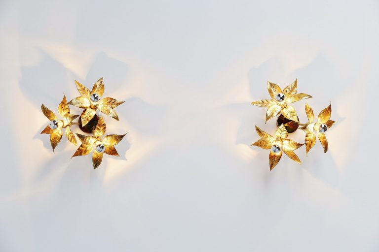Willy Daro pair of ceiling or wall lamps brass Belgium 1970