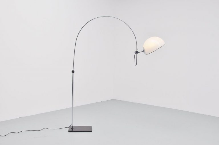 Italian arc floor lamp with lucite shade Guzzini attributed 1970
