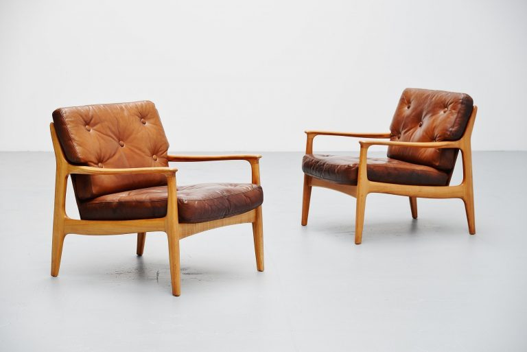 Swedish easy chairs pair in birch and lovely leather 1960