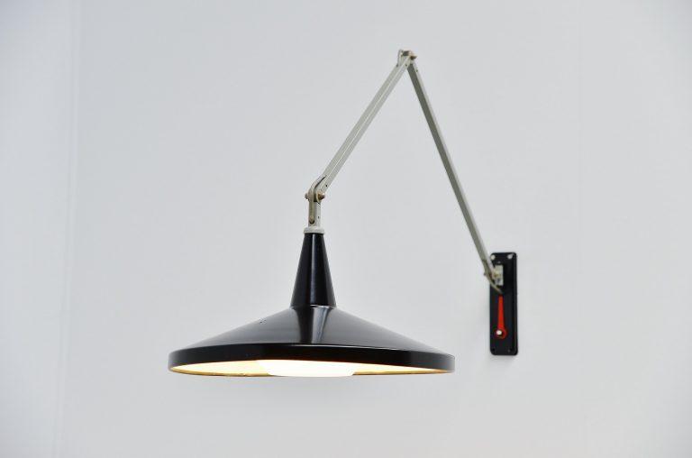 Wim Rietveld Panama wall lamp black Gispen Culemborg 1955