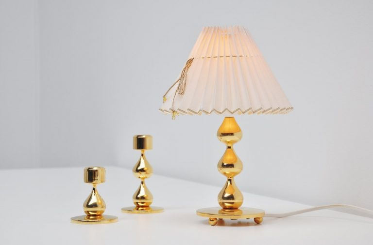 Hugo Asmussen trio of lamp and candle sticks Denmark 1960