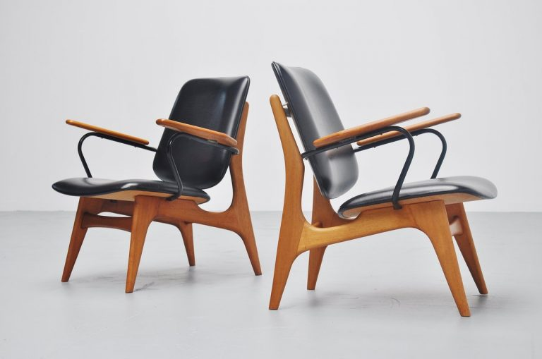 Dutch modernist lounge chair pair 1960