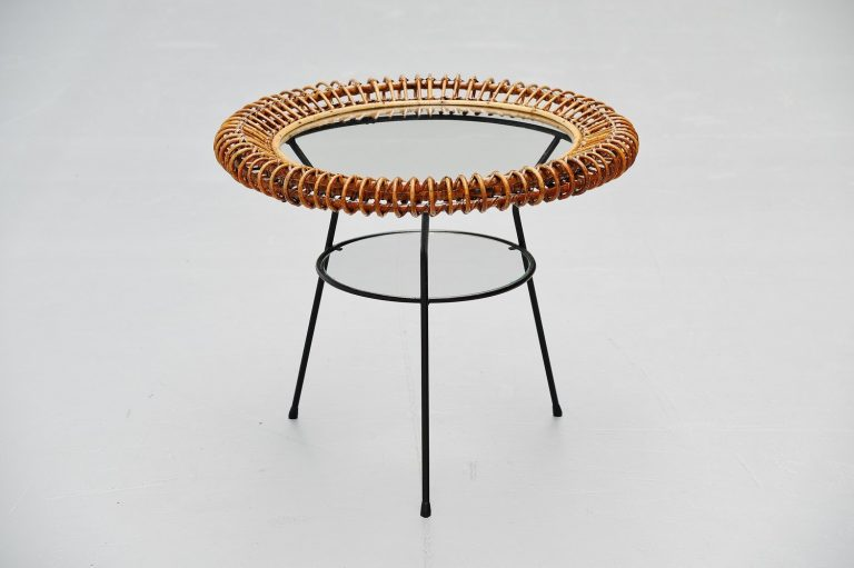 Janine Abraham / Dirk Jan Rol rattan side table Italy 1950