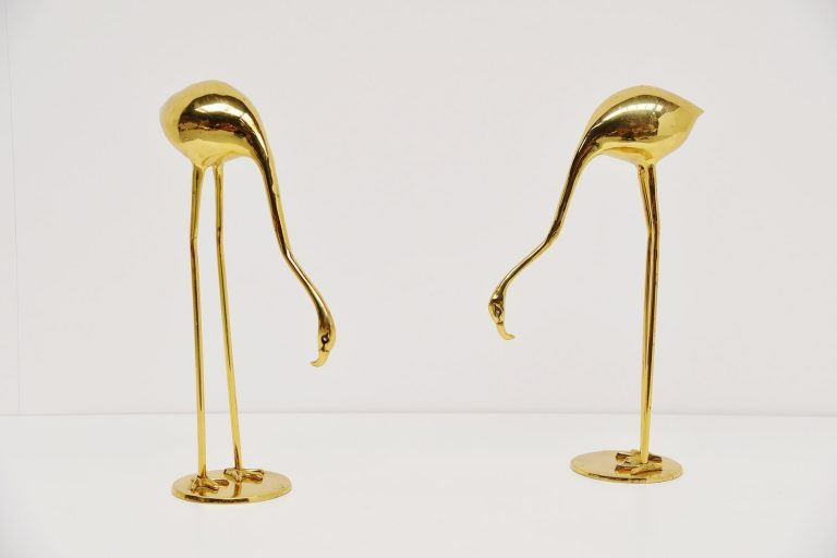 Pair of brass Flamingo's Belgium 1970